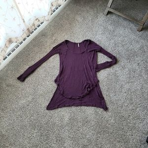 FREE PEOPLE High Low Waffle Knit Top in Purple
